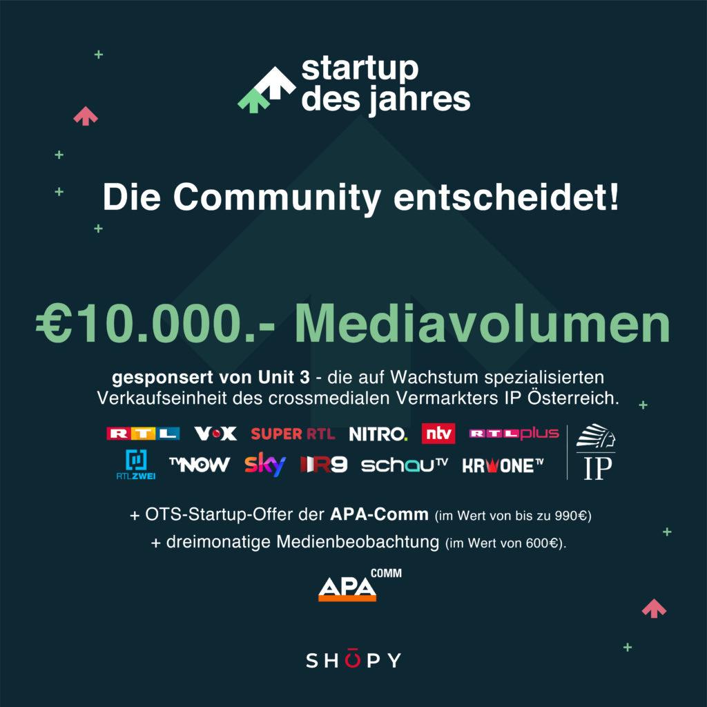 Startup-Award mit Preisen im Wert von über EUR 15.000,-